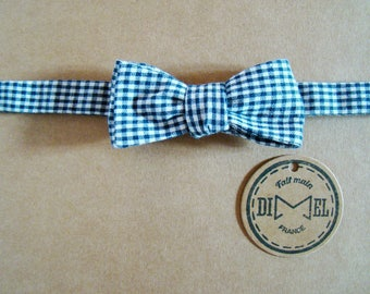 Bow tie adjustable charcoal grey gingham to order