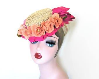 Vintage Floral Tilt Hat w/Chignon Ring~ Circa 1940's