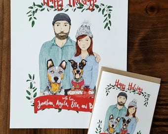 Custom Portrait Illustrated Christmas Card, Hand Drawn Christmas Cards, Family Portraits, FREE SHIPPING