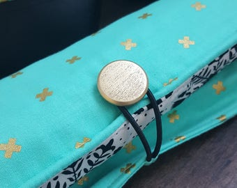 Flat Iron Case, Curling Wand Case, Heat Resistant Holder, Teal, Gold Accents, Travel Essentials, Bathroom Storage, Gifts For Her