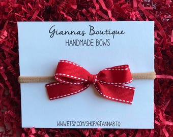 Red+White Hand Tied Bow