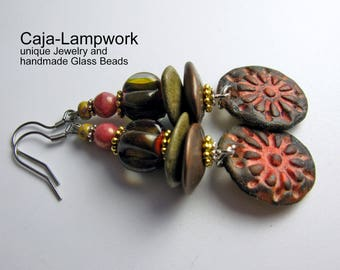 Brown-and orange earrings with hand-crafted Lampwork, polymer clay pendants and beads