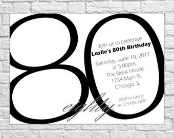 80th Birthday Invitation, Adult Birthday Party Invitation, Modern Invitation, Simple Invitation, Minimalist Invitation, Adult Party Invite