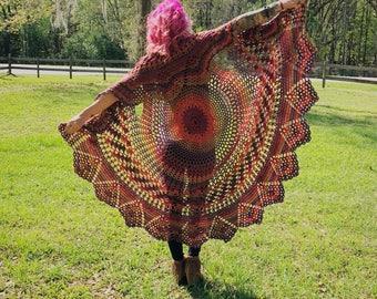 Crocheted Rainbow Bohemian Hippie Festival Vest