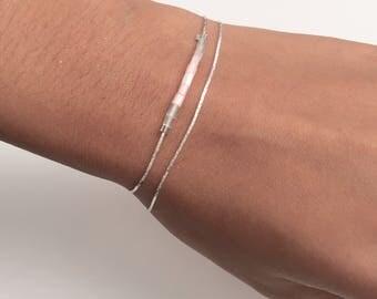 Dainty tiny beads double bracelet