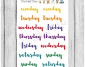 ONE DOLLAR WEDNESDAY - days of the week script - colourful - planner stickers