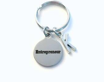 Entrepreneur KeyChain, Business Owner Key Chain, Gift for New Start up Venture Birthstone Initial Present Jewelry Keyring women men him boss