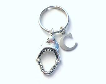Shark Keychain, Gift for Teenage Boy Key Chain, Jaw Mouth keyring, Initial Birthstone present women her him, Gothic Teen Girl Teenager Men