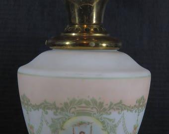 Antique Vintage Semi Flush Brass Glass Stencil Transfer Ware Acorn Ceiling Light