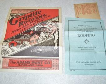 The ADAMS PAINT Co. GRIPTITE Roofing Liquid Absbestos Brochure, Envelope, & Instructions