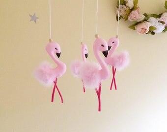 Flamingo baby mobile- flamingo nursery- flamingo nursery mobile- flamingo decor- baby girl mobile- flamingo bird baby mobile