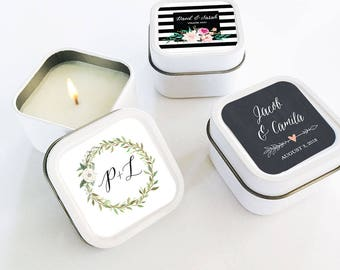 Personalized Floral Garden Square Candle Tins- Bridesmaids Gifts - Maid of Honor - Wedding Gifts - Favors - 24 units