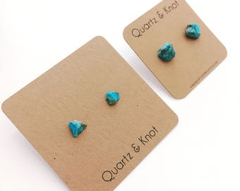 Turquoise Studs, Turquoise Earrings, Gemstone Studs, Raw Stone Studs, Gemstone Earrings, Boho Earrings, Raw Gemstone Earrings