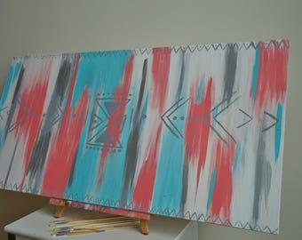 Tribal Style Art,Tribal,Tribal Style,Art,blue,Coral,Grey,Silver Art