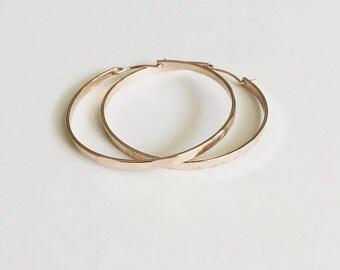 Hammered Rose Gold Hoop Earrings / Minimalist Earrings