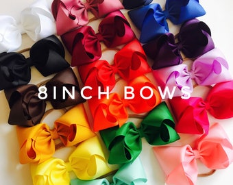 XL 8inch Bow set, large bows, bow bundle, hair bows, clip bows, toddler bows, infant bows, extra large bows, girls bows