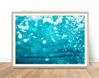Underwater Art Print, Sea Water Photo, Large Poster, Abstrac Art, Bathroom Decor, Water Art, Wall Decor, Printable Poster, Digital Print