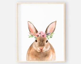 Boho Animal Nursery Digital Print | Nursery Wall Art | Baby Floral Wall Art | Floral Animal Baby Girl Nursery Decor | Baby Boho Animal Bunny