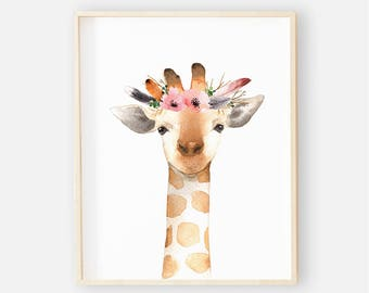 Baby Girrafe Animal Nursery Digital Print | Nursery Wall Art | Floral Animal Baby Girl Nursery Decor | Baby Boho Animal Giraffe