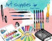 Art supplies: digital watercolor clipart