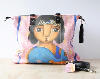Shoulder Shopping Bag, 'The Whale Rider' by ChiarArtIllustration