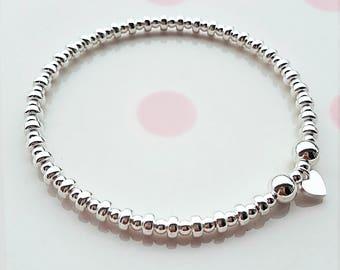 Sterling Silver Bead Bracelet, Silver Bead Bracelet, Bead Bracelet, Beaded Bracelet, Stacking Bracelet, Charm Bracelet, Stacking Bracelet