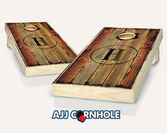 Burned Monogram Stained Cornhole Set with Bags - Cornhole Set - Stained Cornhole Set- Personalized Set - Burned Monogram Stained Set