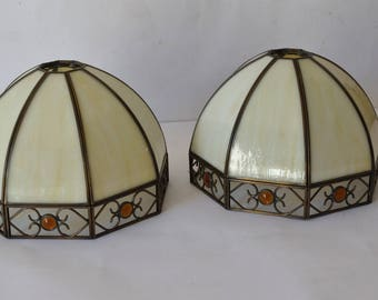 2 x Matching Pair Tiffany Style Leaded Glass Lampshades Pendant Lightshades