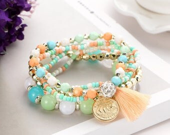 Crystal Multicolor Beads Weave Tassel Steampunk Bracelet For Women