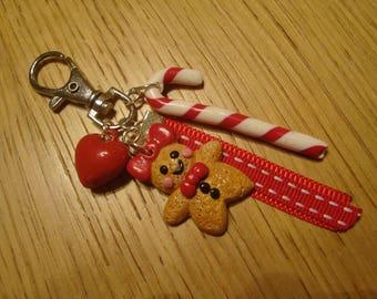 Gingerbread with polymer clay Keychain / / handbag in polymer clay decoration