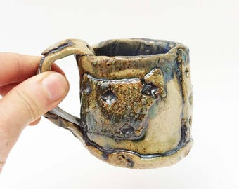 Adorable Hobbit Espresso Mug, Tiny Rustic Pottery, Small Mug, 5 ounce, 5 oz. Primitive Cup, Metallic Black, Grey, Gray, Blue, Green, Patched