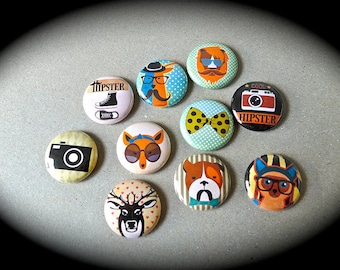 Set of 10 Badges 'Hipster'
