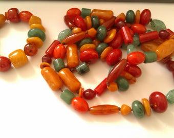 long hard plastic bead necklace & bracelet