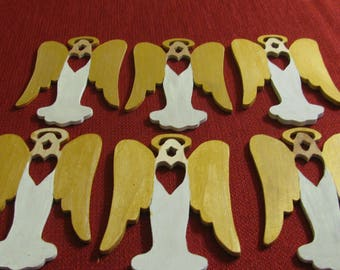 6 Wooden Angel Ornaments