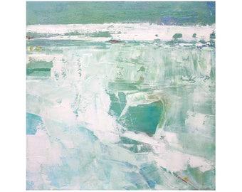 Original Abstract Oil Painting Beach Decor contemporary 12 x 12 square art Dallas artist Paul Ashby MCM