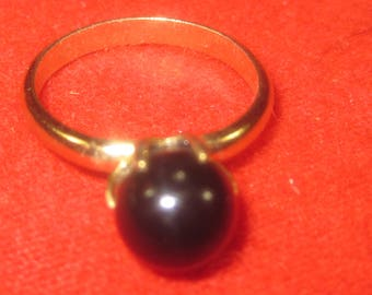 S-21 Vintage  Ring Black onyx stone size 6