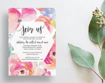Watercolor Floral Shower Invites / Tropical Floral / Calligraphy / Semi-Custom Party Bridal Shower Invites / Print-at-Home Invitations