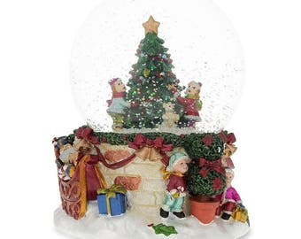 "5.5"" Cheerful Kids Hanging Ornaments on a Christmas Tree Music Snow Globe"