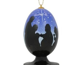 "3.5"" Virgin Mary, Joseph & Jesus Wooden Nativity Scene Christmas Ornament"