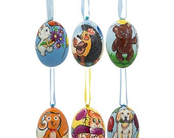 "3"" Set of 6- Dog, Cat, Bear, Squirrel Wooden Christmas Ornaments"