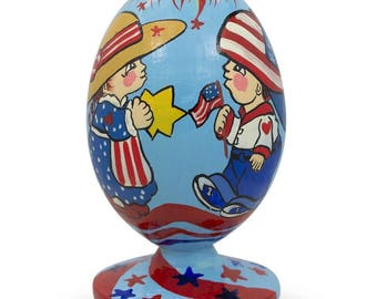 "3.5"" Proud Americans on 4th of July USA Independence Egg Figurine"