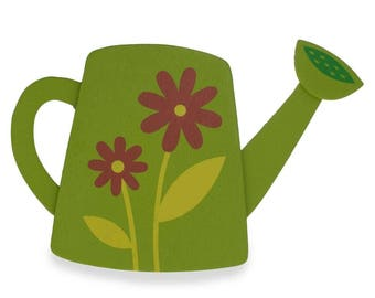"""4"""" Wooden Hand Painted Garden Watering Can Cut Out"""