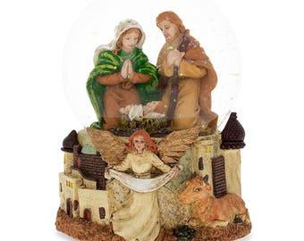 "5.3"" Nativity Scene Guardian Angel with ""Silent Night"" Music Box Snow Globe"