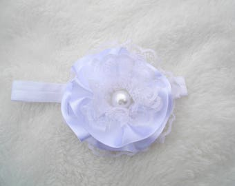 Headband for baby christening, wedding, ceremony, parties, photos, lace and satin white