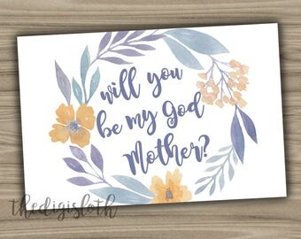Will You Be My Godmother Card - Instant Download - Digital File Blue Yellow Floral Request Baptism Christening Communion Printable