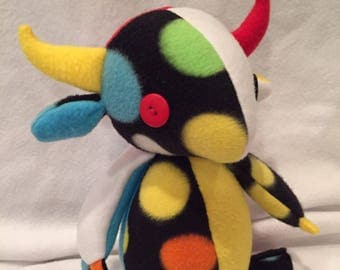 Patchwork dragon plush-- polkadot