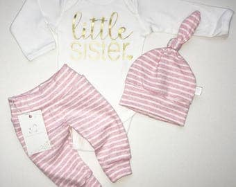 Little Sister Outfit Newborn Baby Girl Outfit  Photo Prop Coming Home Outfit Baby Girl Clothes Pink Stripes Baby Shower Gift New Baby Gift