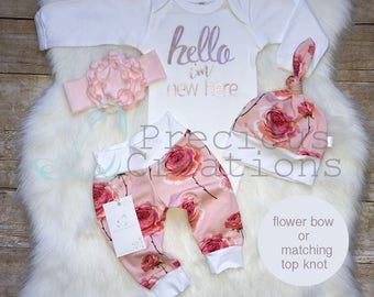 Newborn Girl Outfit Hello World I am New Here Baby Girl Coming Home Outfit Floral Outfit Peach Coral Roses Outfit Euro Print
