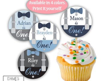 Suspenders Cupcake Toppers, First Birthday, Boy First Birthday Party, Suspenders 1st Birthday, Little Mans First Birthday, DIGITAL FILE P7