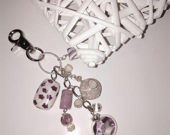 bag charm or Keychain purple and plum